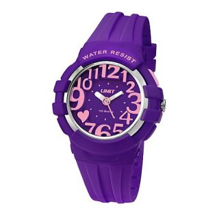 Limit Ladies purple plastic heart motif strap watch
