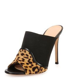 Gianvito Rossi Leopard/Leather Mule
