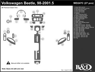 1998 2001 Volkswagen Beetle Wood Dash Kits   B&I WD247C DCF   B&I Dash Kits