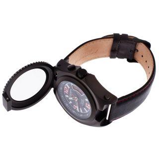 Men's Light Up Magnifier Blk Gen Leather Red Contrast Stitch Blk IP SS