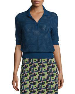 M Missoni Short Sleeve Rib Stitch Polo Top