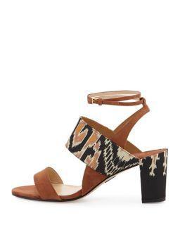 Paul Andrew Xiamen Suede Ankle Wrap Sandal, Sepia