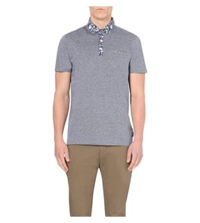TED BAKER   Contrast collar cotton jersey polo shirt