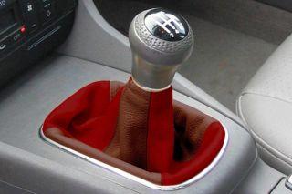 1992 2013 Honda Civic Shift Boots   Redline [PATTERN]/SL/Dark Red Front & Back/Saddle Brown Sides/   Redline Two Tone Leather Shift Boots