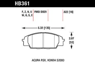 2006 2011 Honda Civic Brake Pads   Hawk HB361W.622   Hawk DTC Racing Brake Pads