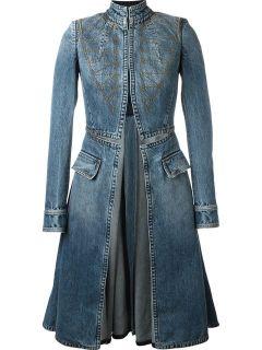 Alexander Mcqueen Stitched Flared Denim Coat    Elite