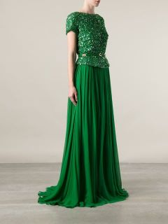 Elie Saab Sequined Evening Dress