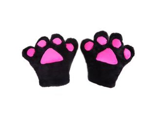 Cute Kitty Cat Girl Adult Costume Cosplay Paw Gloves (Black)