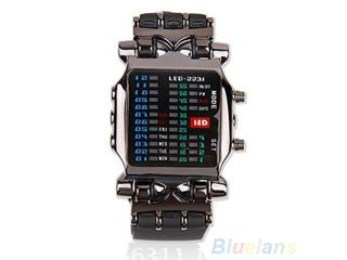Unisex Binary LED Digital Date Square Dial Casual Sport Rubber Band Wrist Watch