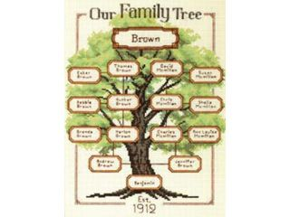 """Our Family Family Tree Counted Cross Stitch Kit 9""""X12"""" 14 Count"""