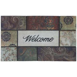 Mohawk Home Paisley Park Tiles 18 in. x 30 in. Recycled Rubber Door Mat DISCONTINUED 395384