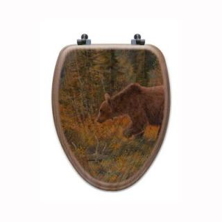 The Grizzly Walk Elongated Closed Front Wood Toilet Seat in Oak Brown TS O TGW E AB