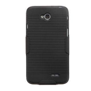 INSTEN Black Hybrid Rubberized Matte Phone Case Cover With Holster For