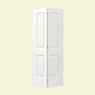 JELD WEN 36 in. x 80 in. Molded Smooth 2 Panel Arch Plank Brilliant White Hollow Core Composite Bi fold Door THDJW160500108