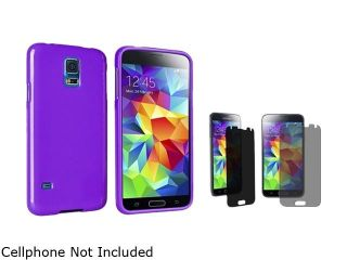 Insten Purple Jelly TPU Rubber Case with Privacy Screen Protector for Samsung Galaxy S5 / SV 1842319