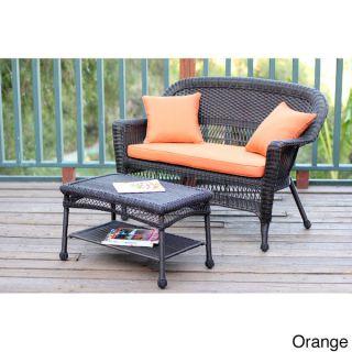 Espresso Wicker Love Seat/Coffee Table Set   15689383
