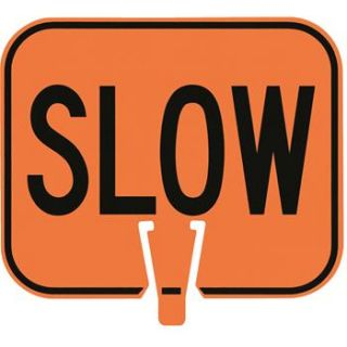 """""""Slow"""" Weather resistant Traffic Control Cone Sign"""