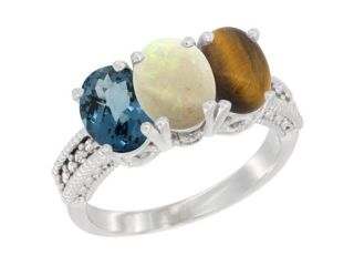 14K Yellow Gold Natural London Blue Topaz, Opal & Tiger Eye Ring 3 Stone 7x5 mm Oval Diamond Accent, sizes 5   10