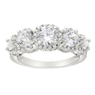 Tiara 10k White Gold 5 stone Round cut Halo CZ Ring