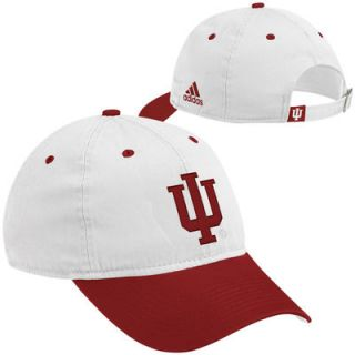 adidas Indiana Hoosiers On Field Adjustable Slouch Hat   White/Crimson