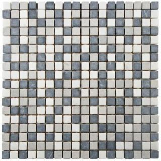 Merola Tile Griselda Mini Charcoal 12 in. x 12 in. x 9 mm Natural Stone Mosaic Tile FXLGRMNC