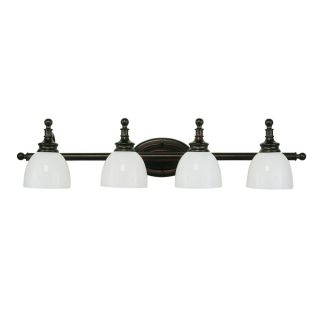 Cambridge 4 Light Rubbed Oil Bronze 32 in. Bath Vanity with White