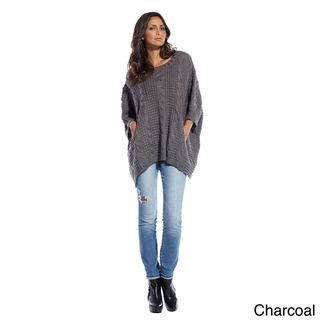 Elan Womens Box Cable Detail Poncho Sweater (One Size Fits Most
