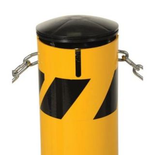 Vestil 36 in. X 5.5 in. Yellow Steel Pipe Safety Bollard with Chain Slots BOL JK 36 5.5