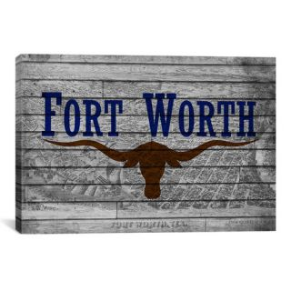 Fort Worth, Texas Flag   Grunge Vintage Map Graphic Art on Canvas