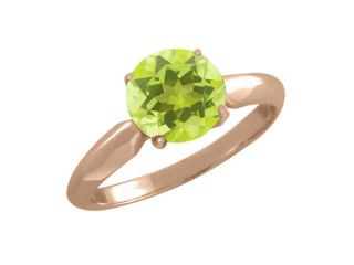 1.85 Ct Round Yellow Lemon Quartz Rose Gold Plated Sterling Silver Ring