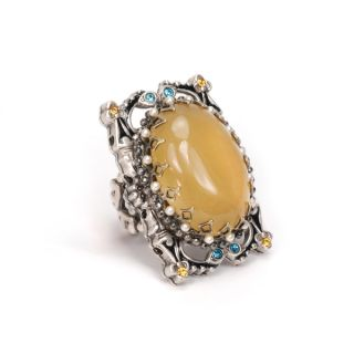 Sweet Romance Silvertone Butterscotch Glass Ring   15578229