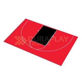 DuraPlay 45 ft. 11 in. x 29 ft. 11 in. Half Court Basketball Kit 8H   Red/Black