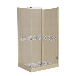 American Bath Factory Java Medium with Java Accent Fiberglass and Plastic Square Corner Shower Kit (Actual: 86 in x 36 in x 42 in)