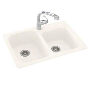 Swan Dual Mount Composite 33 in. 1 Hole 60/40 Double Bowl Kitchen Sink in Baby's Breath KS03322DB.168