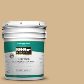 BEHR Premium Plus 5 gal. #320F 4 Desert Camel Zero VOC Semi Gloss Enamel Interior Paint 340005