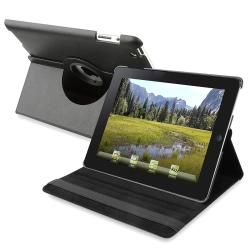 BasAcc Black 360 degree Swivel Leather Case for Apple iPad 2