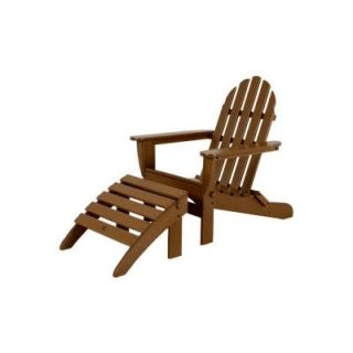 POLYWOOD Classic Teak Patio Adirondack Chair PWS136 1 TE