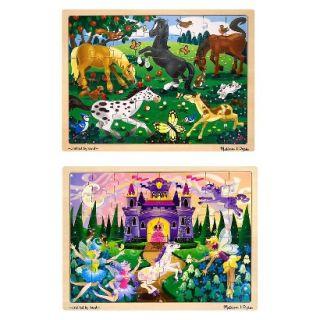Melissa & Doug® Deluxe Wooden 48  Piece Jigsaw Puzzle Bundle   Castle