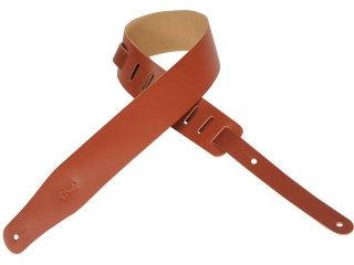 Levy's M26 WAL Chrome  Tan Leather Guitar/Bass Music Strap   Walnut