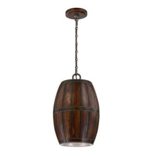 Mano Collection 1 Light Wood and Forged Iron Pendant 25638 011