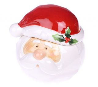 Ceramic Santa Claus Cookie Jar with Santa Hat Lid —