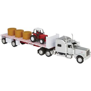 Peterbilt 389 Tractor/Trailer with Farm Tractor and Hay — 1:32 Scale, Silver/Red