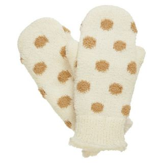 Impressions by Isotoner Polka Dot Mittens   Ivory