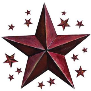 18 in. x 40 in. Barn Star 18 Piece Peel and Stick Giant Wal Decal   Burgundy RMK2197GM