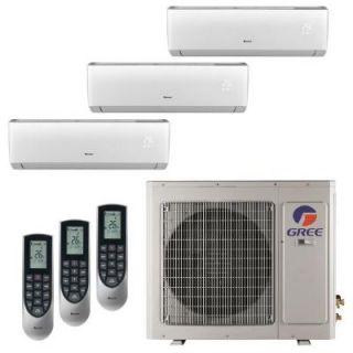 GREE Multi 21 Zone 24,000 BTU 2 Ton Ductless Mini Split Air Conditioner with Heat, Inverter, Remote   208 230 Volt/60Hz MULTI24HP302