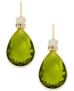 INC International Concepts Gold Tone Pavé Green Stone Drop Earrings