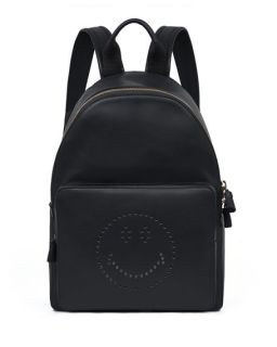 Anya Hindmarch Smiley Leather Backpack, Black
