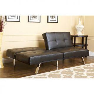 Abbyson Living Mackenzie Bonded Leather Convertible Sofa   Black   7874565