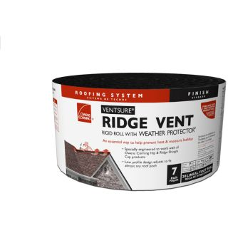 Owens Corning VentSure 7 in x 240 in Black Plastic Roll Roof Ridge Vent