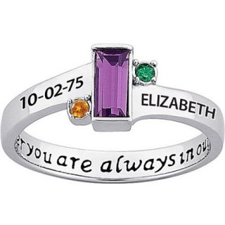 "Personalized Daughter's Sterling Silver ""always in our hearts"" Birthstone and Name Ring"